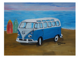 Blue Surfbus With Surf Boards