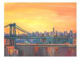 Blue Manhattan Skyline With Bridge And Vanilla Sky 2