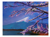 Mount Fuji With Lake And Almond Blossom Time