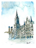 Munich City Hall Aquarell
