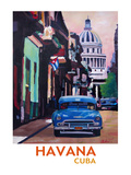 Cuban Oldtimer Street Scene In Havanna Cuba With Buena Vista Feeling Poster 2