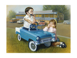 Little Boy in Toy Car with Girl Leaning on it Outside Old Fashioned Diner