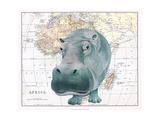 African Hippo Reproduction d'art par Jane Wilson