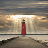 Manistique Lighthouse and Sunbeams  Manistique  Michigan '14
