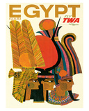 Egypt - Fly TWA (Trans World Airlines) - United Arab Republic (UAR) - Egyptian Pharaohs