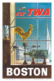 Boston  Massachusetts - Fly TWA (Trans World Airlines) - Ship in a Bottle - Rooster Weathervane