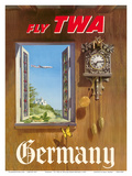 Germany - Fly TWA (Trans World Airlines) - German Black Forest Cuckoo Clock
