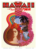 Hawaii - Fly TWA (Trans World Airlines) - Ukulele Psychedelic Flower Power Art