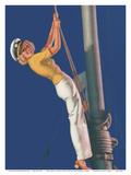 First Mate - Sailboat Sailor Pin Up Girl - Brown & Bigelow Company