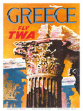 Greece - Fly TWA (Trans World Airlines) - Corinthian Style Greek Column