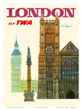 London UK - Fly TWA (Trans World Airlines) - Westminster Abbey Church Reproduction d'art par David Klein