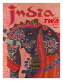 India - Fly TWA Jets (Trans World Airlines) - Adorned Elephant Giclée par David Klein