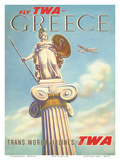 Greece - Fly TWA (Trans World Airlines) - Athena  Goddess of War