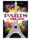 Paris  France - Fly TWA Jets - Trans World Airlines - Fireworks at Eiffel Tower