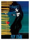 Hawaii - Fly Teal (Tasman Empire Airways Limited) - Wahine (Girl) with Orchids