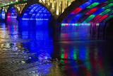 Modern Bridge with Multicolored Lighting at Night  Huangshan  China