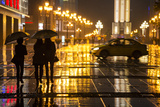 China  Chongqing  Pedestrians Walking with Umbrellas Along the Street