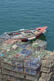 Portugal  Cascais  Lobster Traps and Fishing Boat in Harbor