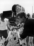 Albert Finney behind the cameras shooting a film at the beach on the French Riviera in France  1967