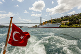 Ataturk's Yacht Savarona  Turkish Flag and Bridge  Istanbul  Turkey