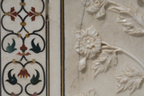 India  Agra  Taj Mahal Detail of Marble Inlay with Carved Flowers