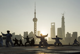 China  Shanghai  Martial Arts Group Practicing Tai Chi at Dawn