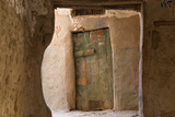 Door in Oasis Town of Al Qasr in Western Desert of Egypt with Old Town