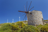 Old Windmill and Modern Wind Turbines Naxos Island  Greece