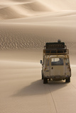 Skeleton Coast  Namibia Land Rover Venturing Out over the Sand Dunes