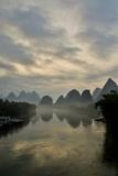 Mountain Scenic at Sunset Along the Li River Near Yangshuo  China