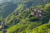Village House and Rice Terraces in the Mountain  Longsheng  China