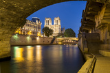 Twilight  Cathedral Notre Dame and River Seine  Paris  France