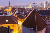 View of Old Town at Dusk  from Toompea  Tallinn  Estonia