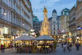 The Plague Column  Graben Street at Night  Vienna  Austria