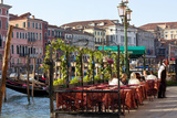 Tables Outside Restaurant by Grand Canal  Venice  Italy