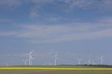 Romania  Danube River Delta  Bestepe  Farm Fields and Windmills