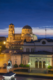 Bulgaria  Sofia  Ploshtad Narodno Sabranie Square  Elevated View  Dawn