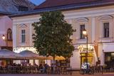 Romania  Baia Mare  Piata Libertatii Square  Outdoor Cafes  Dusk