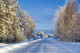 Snow Covered Road  Near Lulea  Northern Sweden