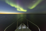 Canada  Nunavut  Aurora Borealis Glows in Night Sky Above Hudson Bay