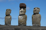 Chile  Easter Island  Rapa Nui NP  Ahu Tongariki Moai with Pukao