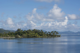 Society Islands  French Polynesia Palm Tree Lined Waterfront View