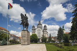 Romania  Transylvania  Targu Mures  Statue and Orthodox Cathedral