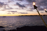 Kona  Hawaii  Big Island  Tiki Torch over Ocean at Kailua-Kona Beach