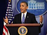 President Barack Obama at a News Conference  Brady Press Briefing Room