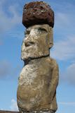 Chile  Easter Island  Hanga Nui Rapa Nui NP  Statue with a Pukao