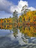 USA  Maine Autumn Scenic of Upper Togue Pond