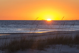 USA  MS  Bay St Louis Sun Sets Gulf of Mexico Beach Grasses