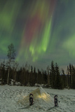 USA  Alaska  Fairbanks a Quinzee Snow Shelter and Aurora Borealis