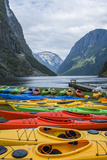 Naeroyforden Fjord with Colorful Kayaks in Water  Gudvangen  Norway